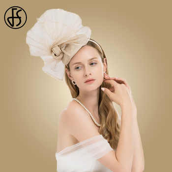 FS Champagne Color Flower Church Hats Women Elegant Sinamay Fascinator Base Ladies Wedding Pillbox Hat Bow Kentucky Derby Fedora - DISCOUNT ITEM  33% OFF All Category