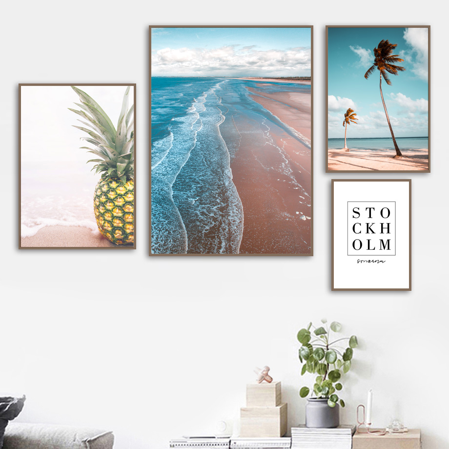 Coconut Tree Sea Beach Pineapple Wall Art Canvas Painting Red Car Nordic Posters And Prints Wall Pictures For Living Room Decor in Painting Calligraphy from Home Garden