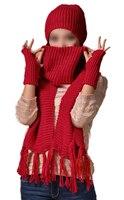 Dames 3 pcs Hiver Doux Tricot Beanie Chapeau Longue Écharpe Gants Ensemble Rouge