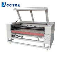 Jinan AccTek 1410 1610 laser cut co2 two heads laser cutting machine for fabric leather textile