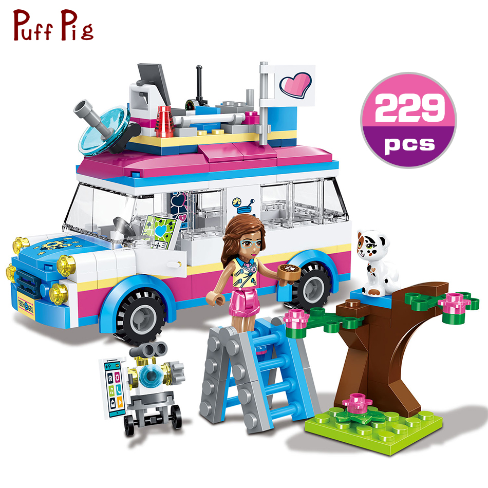 229pcs Girls Princess Outing Olivia's Mission Vehicle Building Blocks Bricks Kids Classic Toys Gift Compatible Legoings Friends