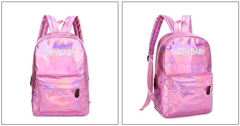HTB1hhq7bA9E3KVjSZFGq6A19XXaU Yogodlns 2019 Holographic Laser Backpack Embroidered Crybaby Letter Hologram Backpack set School Bag +shoulder bag +penbag 3pcs
