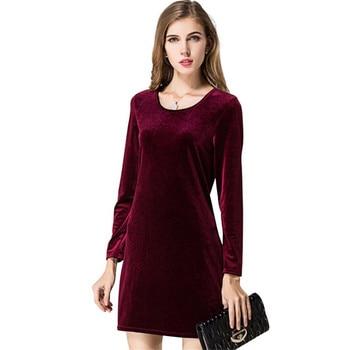 d776430799 Vintage invierno vestidos de terciopelo Vestidos elegante Slim casual otoño  mujer vino rojo vestidos de traje ropa manga larga más tamaño s211