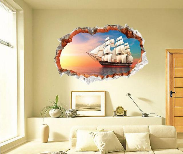 Sailing Boat on the Sea High Quality 3D Wall Art Removable Wall ...