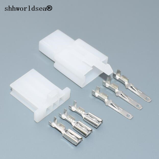 shhworldsea 50set Connector 2.8 3 line car connector plug 2.8mm 3p 3 ...