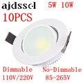 10 шт. LED COB утопленный Led COBDownlight с регулируемой яркостью AC85-265V 5 Вт 10 Вт потолочный светильник Внутреннее освещение со светодиодным драйвером ...