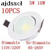 10 pçs led cob recessed led cobdownlight pode ser escurecido AC85-265V 5 w 10 w lâmpada do teto iluminação interior com led driver iluminação local led