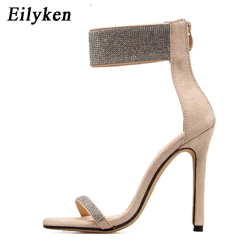 15535b07d70 Eilyken Summer Sparkling Diamond Crystal High Heels Women Sandals 2019 New  Sexy Club Heels Sandals Women
