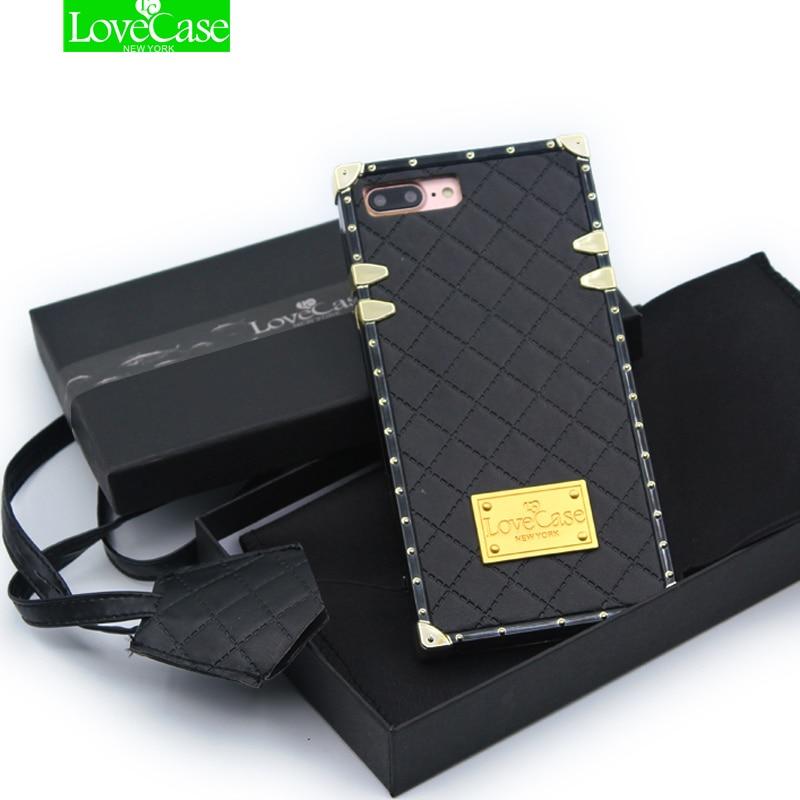 LoveCase dernière PU en cuir + Tpu téléphone cas de couverture arrière pour iPhone 7 Plus 8 6 s Plus top qualité téléphone sac cas + lanière
