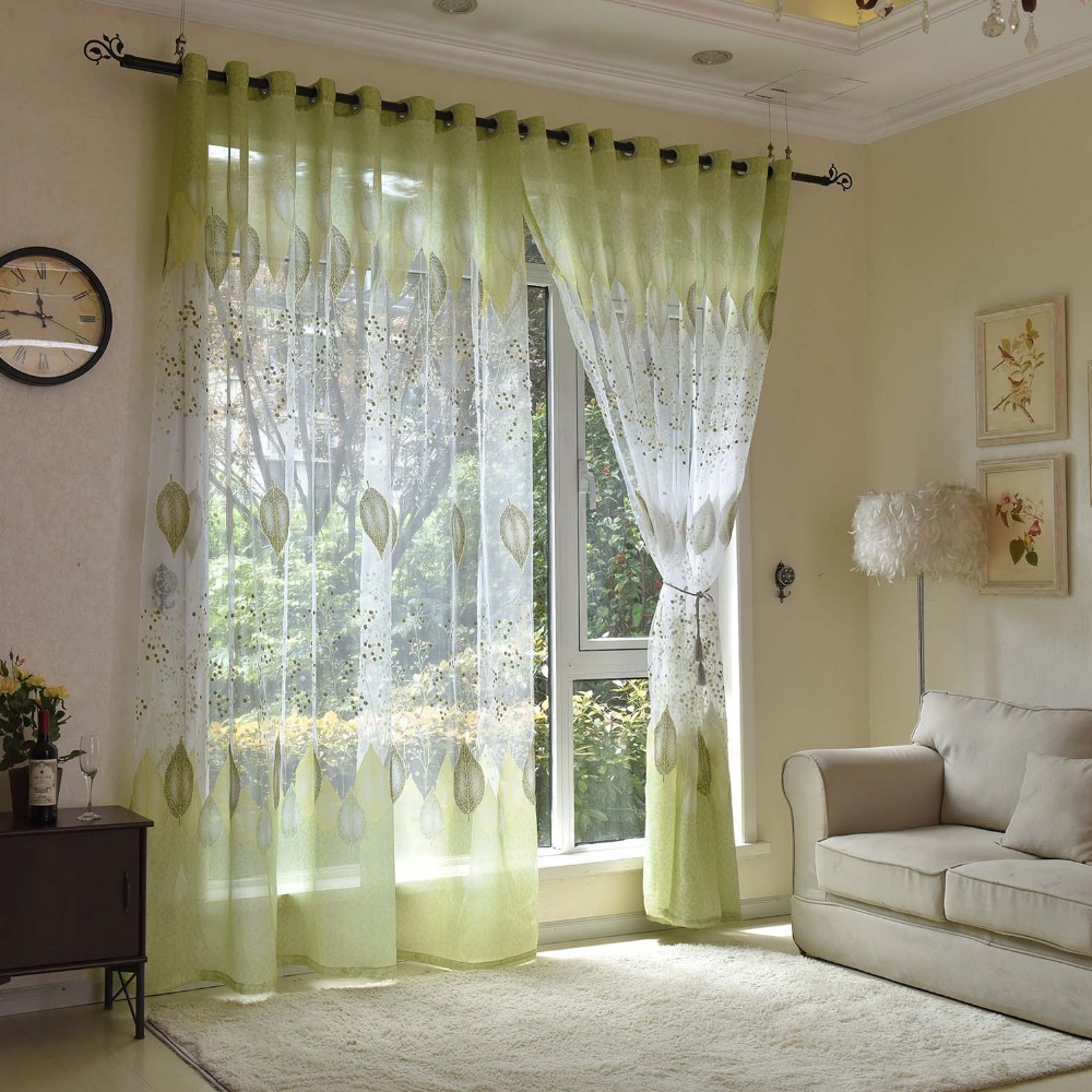 DHD Floral Leaves Window Curtain Living Room Window Curtains Tulle Curtains for Living Room Decoration Printed Bedroom Curtains
