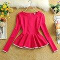 2016 весна осень новая мода женщины блузка с длинным рукавом элегантные дамы блузки blusa баски топы