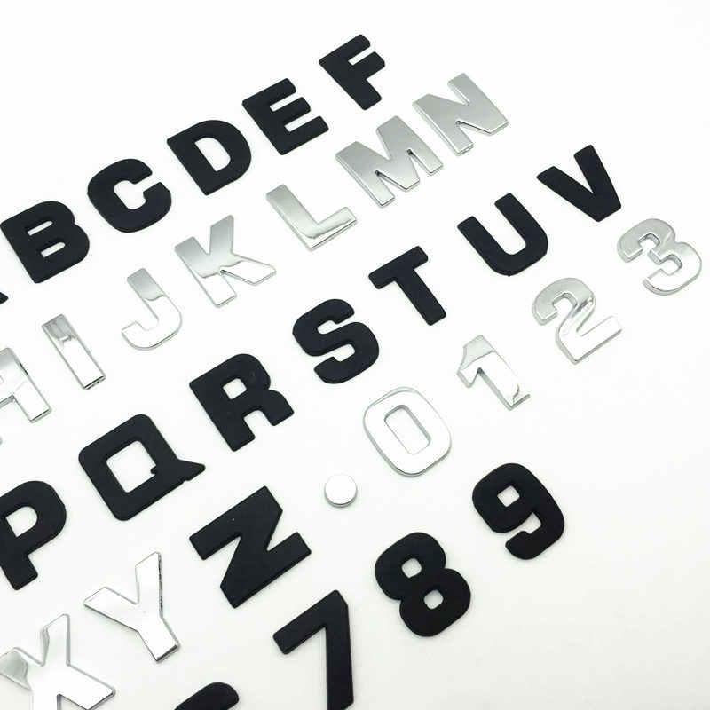 25mm lettres bricolage Alphabet emblème Chrome voiture autocollants Badge numérique Automobiles Logo 3D métal voiture accessoires moto autocollant