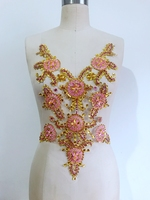 golden/pink Sew on rhinestones applique on mesh handmade crystals/beads/gem stones patches for dress cloth 45*35cm