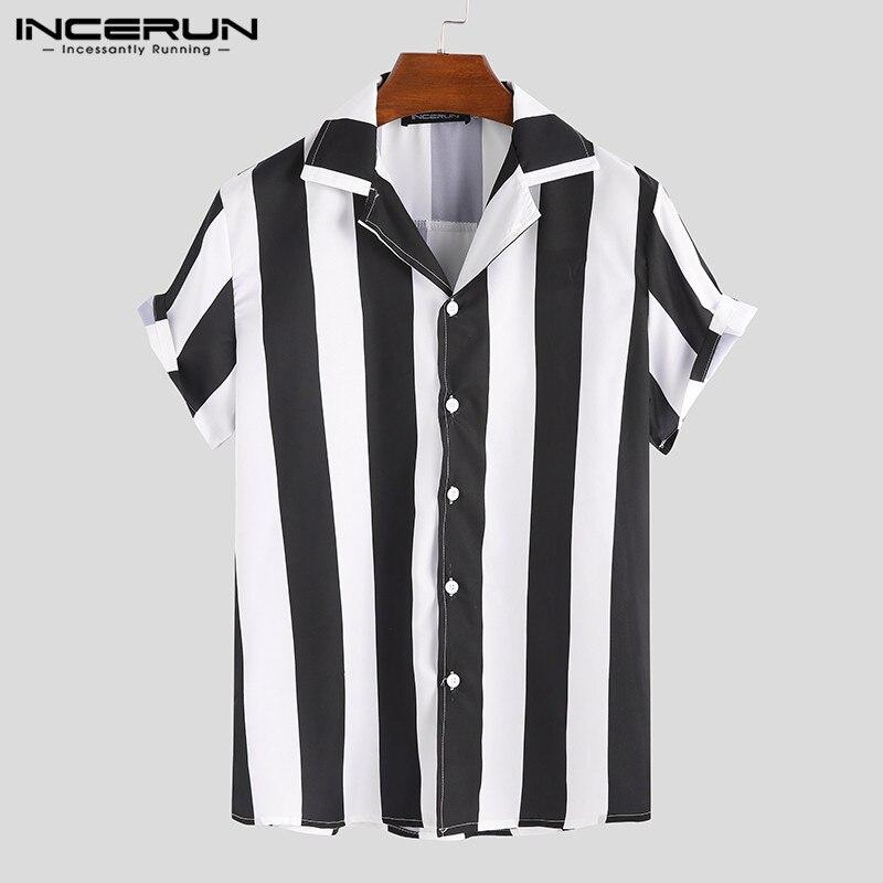 INCERUN 2020 Fashion Men Shirt Multicolor Striped Short Sleeve Slim Button Tops New Style Streetwear Party Men Shirts Plus Size