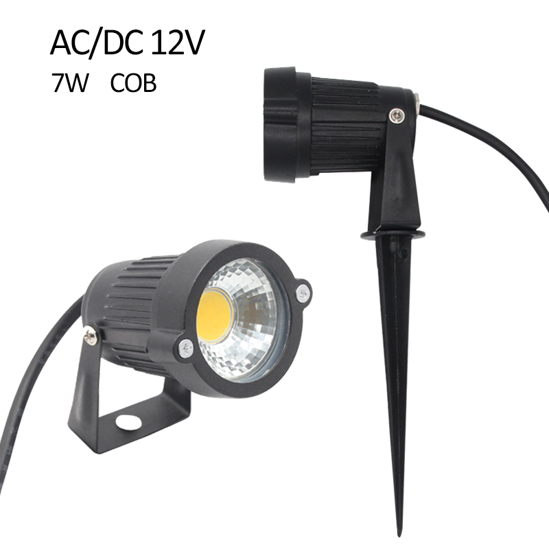 AC DC 12V IP65 Waterproof 7W COB LED Lawn Light Spot LED Garden Lights Spike  Lamp