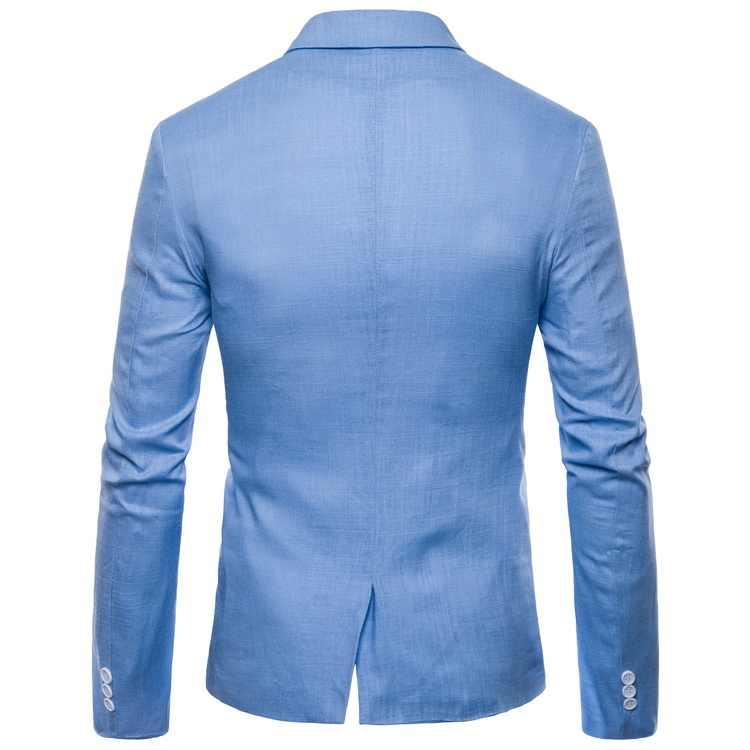 Moda de hombre ropa de algodón Slim Fit chaqueta Casual sólida Blazer de traje Casual de hombres boda fiesta chaqueta Masculino