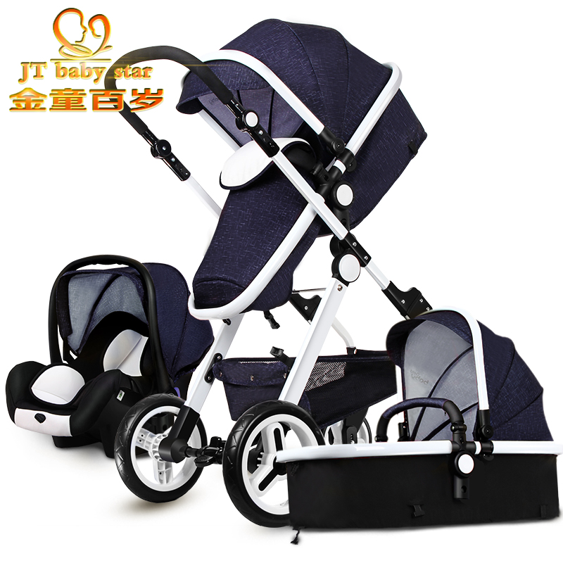2017 European Baby Strollers Eu 3 In 1 Baby Strollers 0-4 Years Old Newborn Use Bassinet Car Seast Stroller Together Pieces 2015 baby stroller 3 in 1 600d oxford cloth pram for kids 0 3 years old baby shock absorbers pushchair with carry cot bassinet