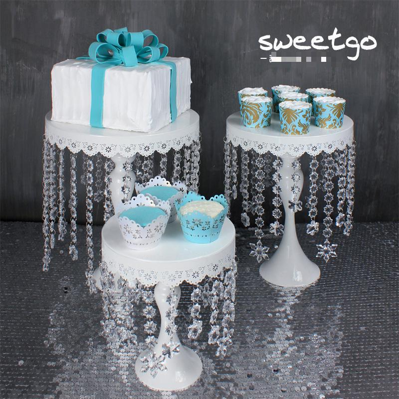 Wedding Cake Stand Candy Fruit Plate Long Crystal Pendant