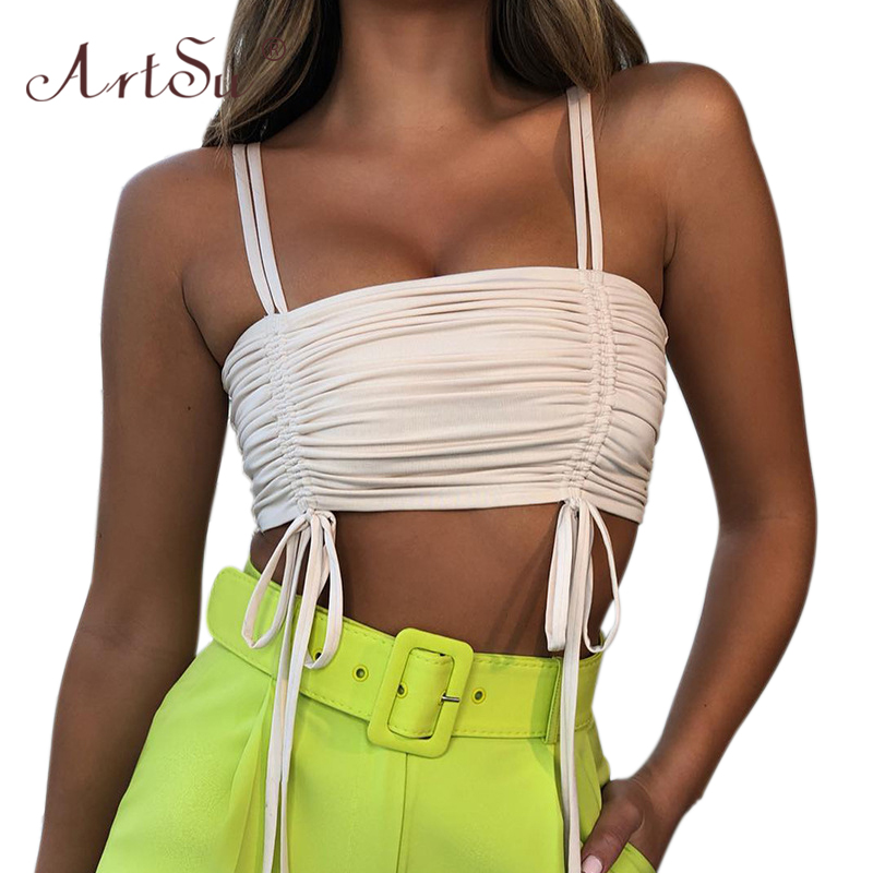 ArtSu Slash Neck Sexy Bustier Tank Top Black Club Cami Bandage Crop Top Women Fashion White Summer Tops Camisole Streetwear 2020 1