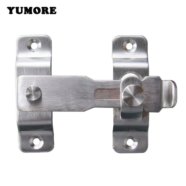 YUMORE 2PCS Hasp Latch Lock Sliding Door Latches Stainless Steel Door Bolts  Action Hardware Free Shipping