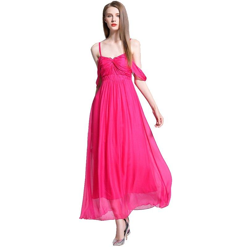 da4507116a0 Crêpe 2019 Robe Soie Vacances Femmes Bretelles Élégant Qualité Rose D été  Bohème Haute Femelle Partie ...