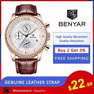 Image 2 - BENYAR heren Horloge Mode/Sport/Quartz Horloge Mannen Horloge Heren Klok Top Brand Luxe Lederen Horloges Mannen relogio Masculino