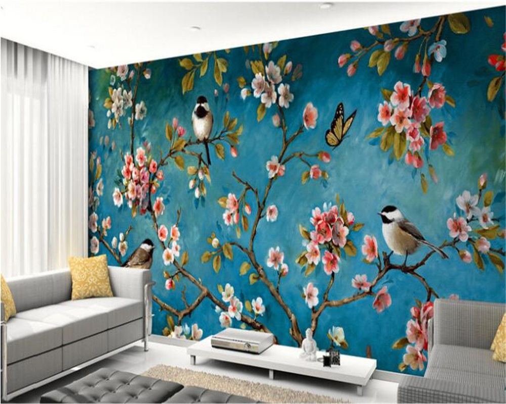 beibehang papel de parede 3d wallpaper Customize any size aesthetic wallpaper Peach Blossom Bird Oil Painting Backdrop Design