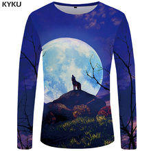 KYKU Wolf T shirt Men Long sleeve Moon Rock Tree Cool Sky 3d T-shirt Animal Punk Funny shirts Mens Clothing 2018