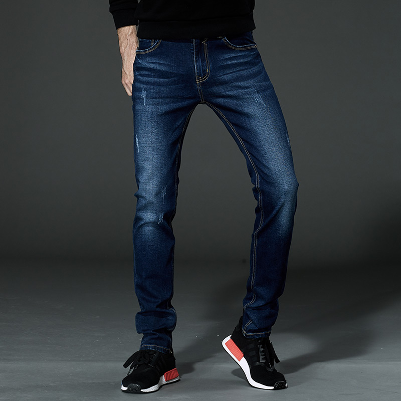 2018 New Fashion Men Jeans Slim Soild Autumn Regular Fit Winter Jeans Homme Mens Warm Stretch Casual Plus Size 44 46