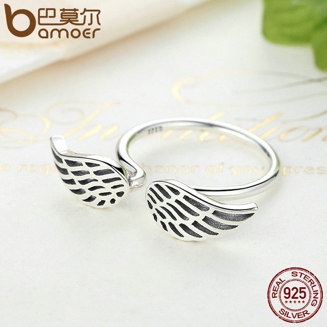Sterling Silver Openwork Wings Feather Finger Ring