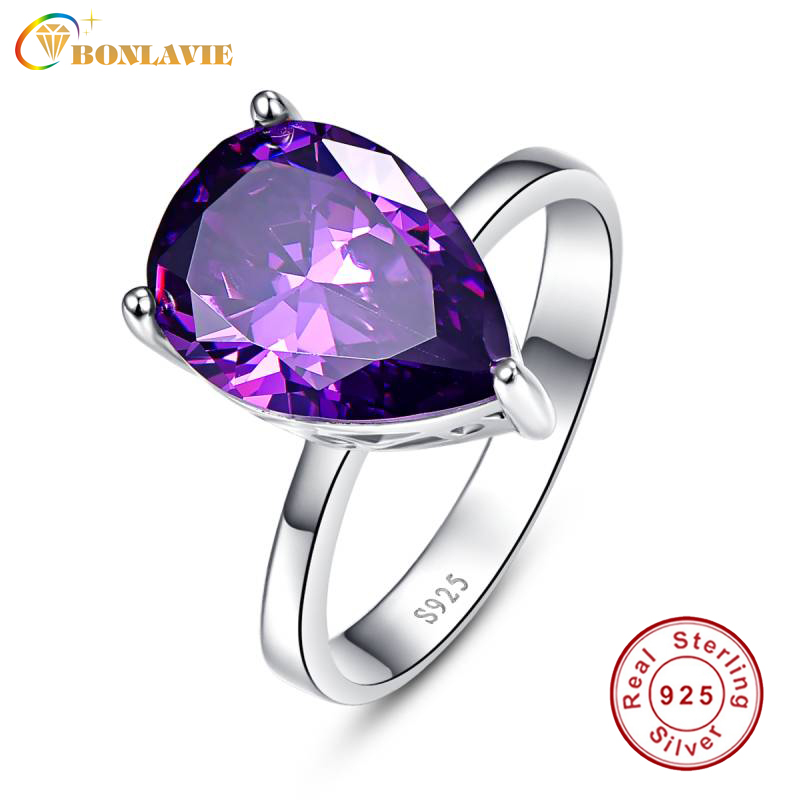 Elegant 925 Sterling Silver Purple Amethyst Wedding Engagement Ring Size 8