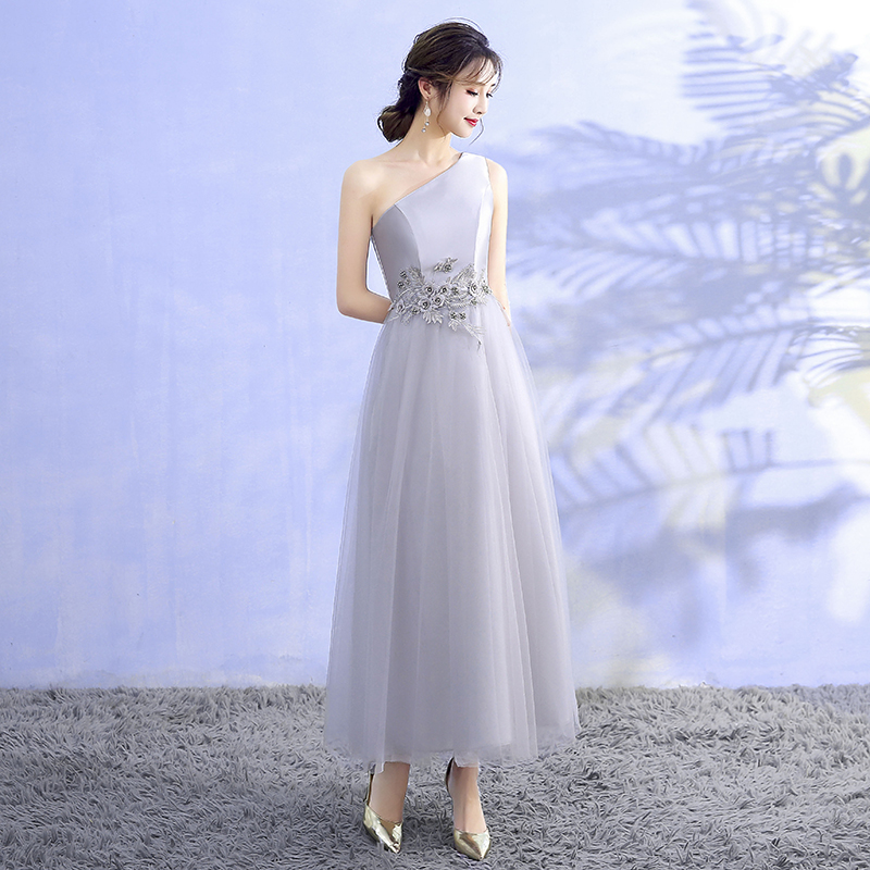 Grey Midi Dress Wedding Party Dress Bridesmaid Dresses Special Occasion One Shoulder Back of Bandage in Bridesmaid Dresses from Weddings Events
