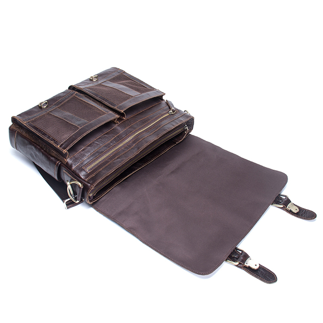 CONTACT'S 2019 Men Retro Briefcase Business Shoulder Bag Leather Handbag Bag Computer Laptop Messenger Bags Men's Travel Bags 3