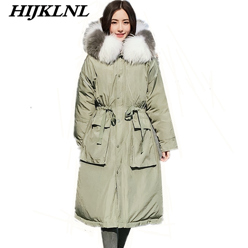 2019 New Women Winter Down Coat Loose Large Size Long Down Jacket Fashion Warm Thicken Raccoon Fur Collar Hooded Outerwear CW096