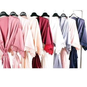Шелковистый кружевной халат, атласные халаты подружки невесты, кружевное платье невесты, вечерние Халаты для невесты, платье с цветочным уз...