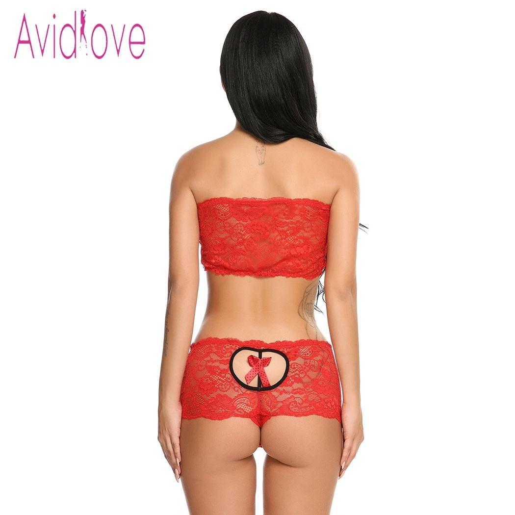 Avidlove Hot Erotic Underwear Lingerie Set Women Sexy Lace Mesh Nightwear Sleepwear Baby Doll Bra Panties Exotic Intimates