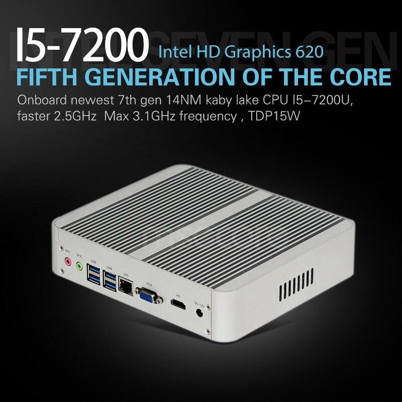 Mini PC i5 7200U Desktop Computer Windows 10 Intel NUC Nettop barebone system Fanless Kabylake HTPC