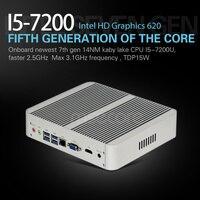 Mscore безвентиляторный игровой мини ПК i5 7200U настольный компьютер оконные рамы 10 Intel неттоп barebone linux NUC HTPC HD620 графика 4k WiFi