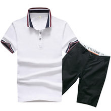 Man Polo Shirt Set Summer Brown White Male Quality Short Sleeve Knee Length Men Polo-shirts Shorts Suit(China)