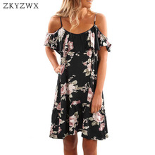 Zkyzwx с открытыми плечами и оборками Цветочный принт сексуальное платье 2018 лето плюс Размеры Платья для женщин Для женщин Повседневное Vestidos boho свободные пляжное платье