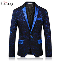 HCXY 2019 High quality Fashion Mens Printing Blazer Casual Slim Fit Prom Dress Blazer Men Stage Wear Blazers Male Suit Jacket