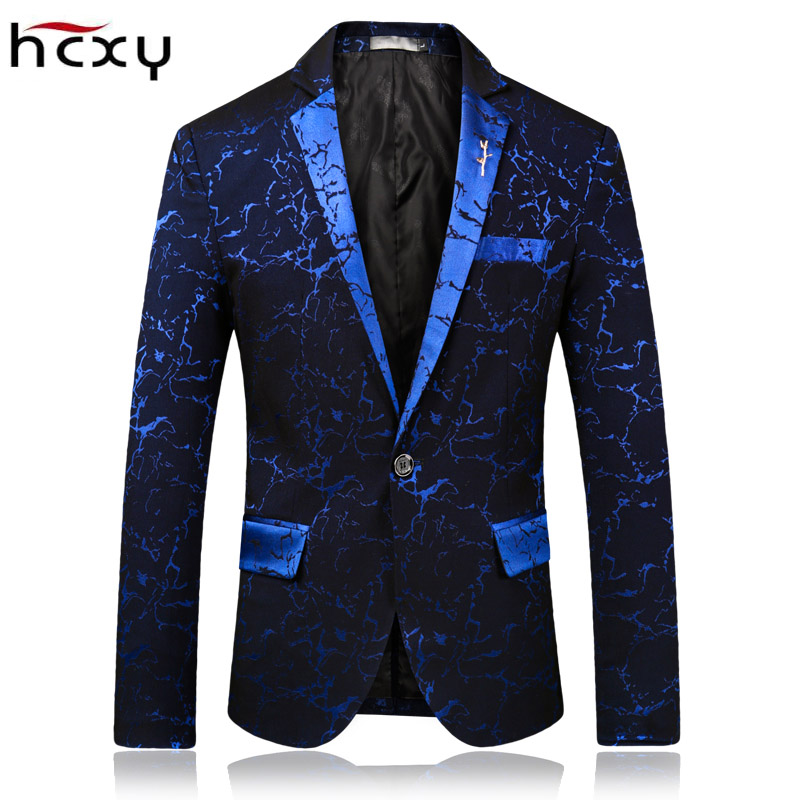 HCXY Marque 2018 printemps Mode Hommes Blazer Commerce Occasionnel Mince Fit De Bal Robe Blazer Hommes Stage Porter Blazers Costume Masculin veste