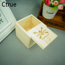 Personalized Square Vintage DIY Rustic Wedding Wood Ring Box Holder Custom Your Names and Date Bearer