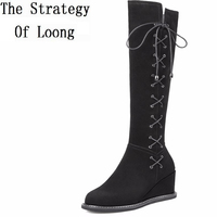 Genuine Leather Short Plush Lace Up Wedges Knee High Boots Women Winter Thick Warm 2016 New