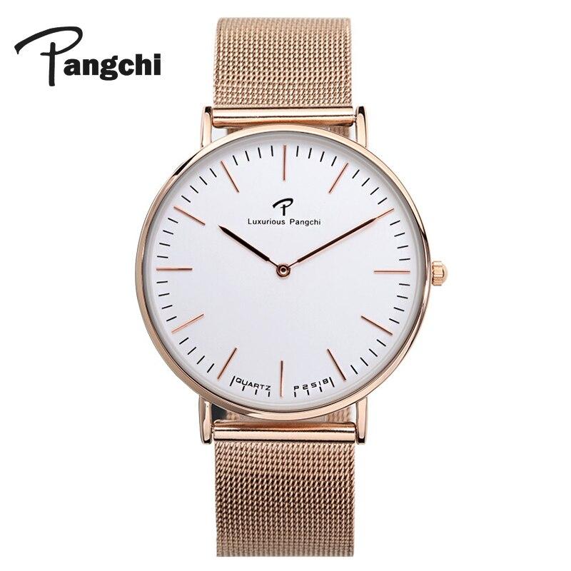 PANGCHI Casual Stainless Steel Mesh Belt Watch Woman Classic Ultra Thin Big Dial Quartz Bracelet Wrist Watches Female Reloj Gift Наручные часы