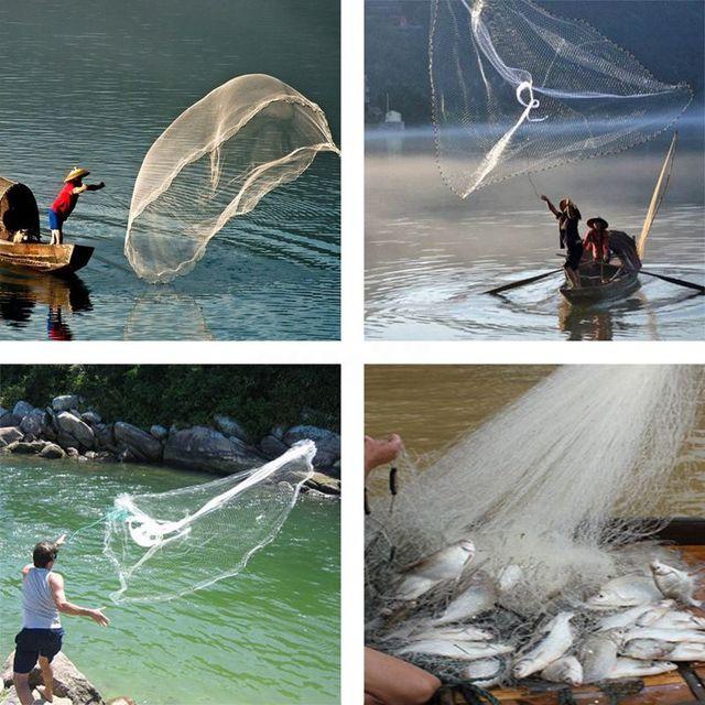 8Ft 2.4 メートル漁網餌簡単スローハンドキャスト 3/4 インチの強力なナイロンメッシュ + シンカー