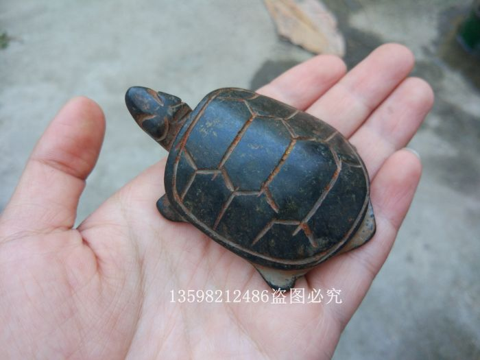 Chinese Old Red Mountain Culture Collection Iron Meteorite Carved Tortoise PENDANT