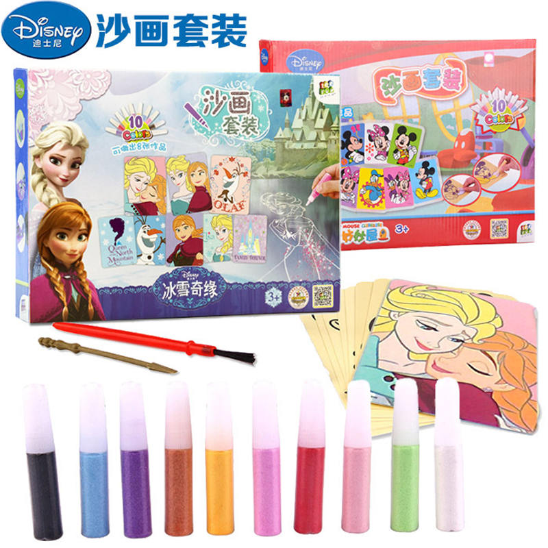 2018 new Disney frozen Children's sand painting Princess Handmade Colorful sand painting 10 Color Painting Making toys 5 10pcs sand painting handmade colored cartoon drawing toys sand art kids coloring diy crafts learning sand art painting cards