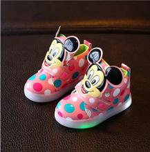 New Fashion LED lighting children casual shoes Cartoon boys girls led flashing sneakers Printed dot Mickey baby kids boots
