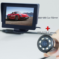 2 In 1 Car Parking Assistance System 4 3 Inch TFT LCD Car Reverse Mirror Rearview
